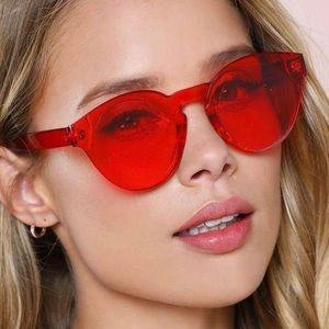Accessories - Retro Round Frameless Red Fashion Eyewear
